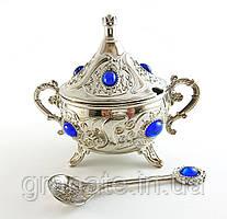 Лукумница с ложечкой Турция, цвет: серебро 13*10*15 см