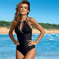 Шикарный женский купальник слитный купальник чёрный синий розовый размер M L XL 2XL 3XL