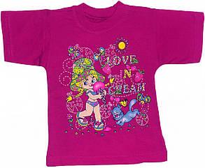 Дитяча футболка на дівчинку ріст 92 1,5-2 роки для малюків з принтом яскрава красива літня трикотаж малинова
