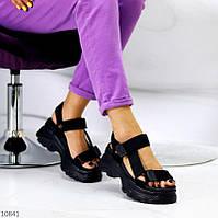 """Жіночі текстильні босоніжки на платформі Чорні """"Kuki"""", фото 1"""