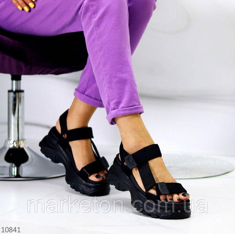 """Жіночі текстильні босоніжки на платформі Чорні """"Kuki"""""""