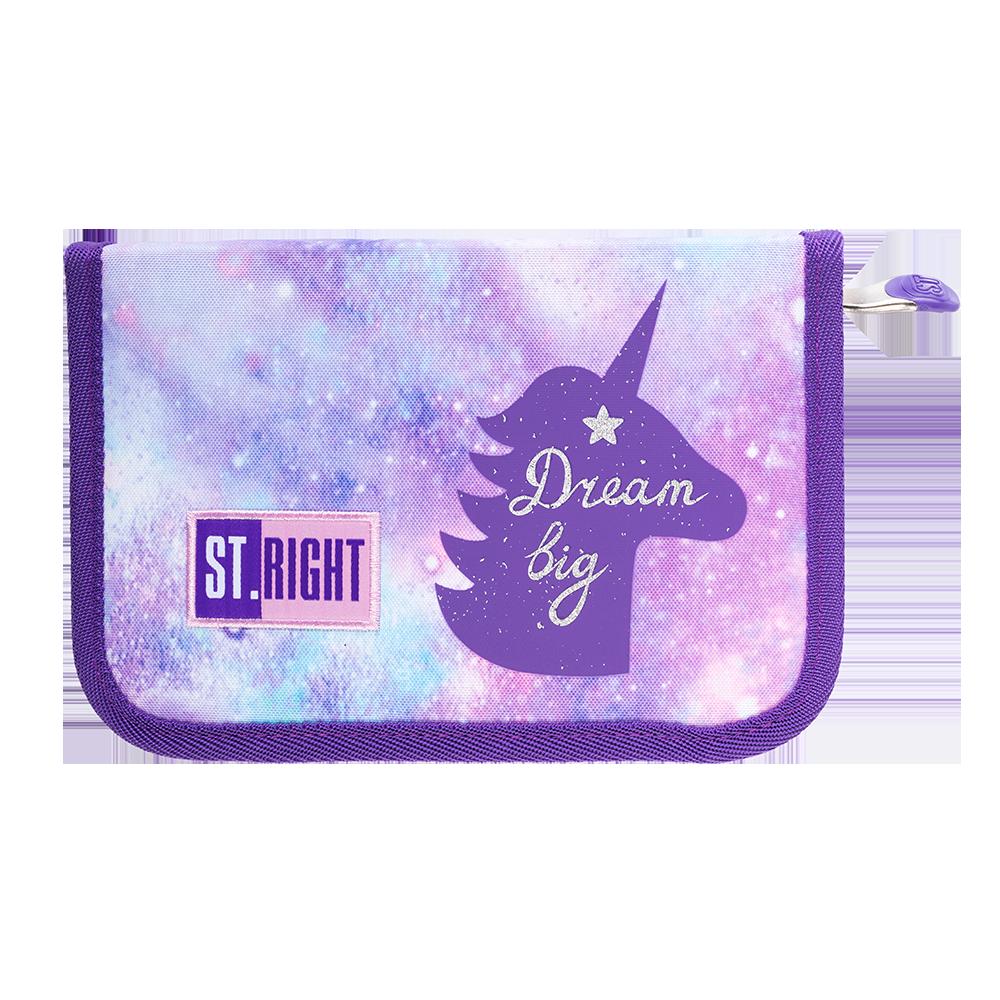 Пенал школьный без наполнения ST.RIGHT PC3 Sky Unicorns Фиолетовый