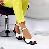 """Женские кожаные босоножки на низком ходу Белые """"Myj"""", фото 1"""