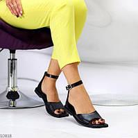 """Жіночі шкіряні босоніжки на низькому ходу Чорні """"Myj"""", фото 1"""