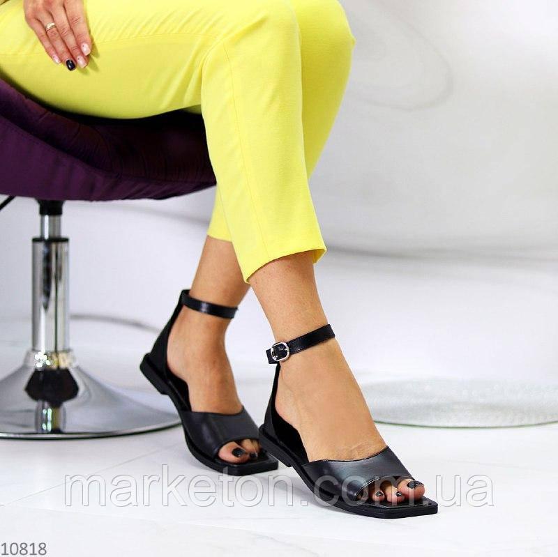 """Жіночі шкіряні босоніжки на низькому ходу Чорні """"Myj"""""""