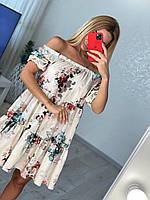 Женское платье с открытыми плечами свободного кроя