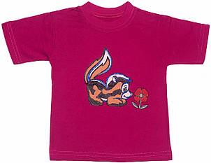 Детская футболка на девочку рост 92 1,5-2 года для малышей с принтом яркая красивая летняя трикотаж малиновая