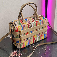 Жіноча сумка саквояж Fendi Beige | Фенді Бежева з кольоровим принтом