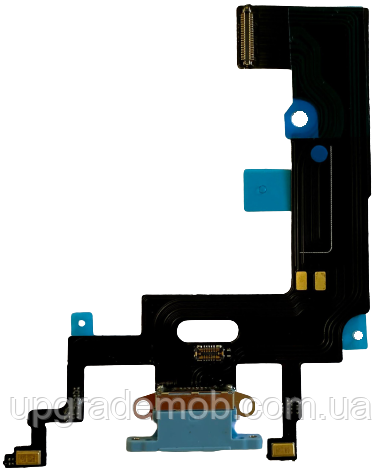 Шлейф iPhone XR с разъемом зарядки и микрофоном синий