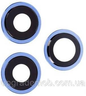 Стекло камеры iPhone 12 Pro синее Pacific Blue + кольцо комплект 3 шт.