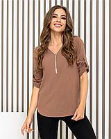 Блузка на молнии арт 158 цвет кофе с молоком, фото 1