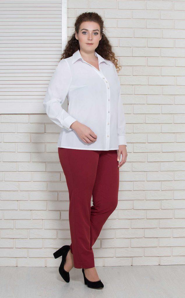 Женская блуза базовая офисная с длинным рукавом белая на пуговицы большого размера BerdToni MKBT8796