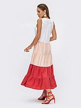 Трехцветное платье без рукавов из льна жатки Украина Размеры: 44,46,48,50,52, фото 2