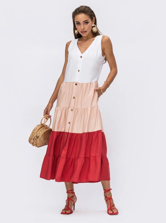 Трехцветное платье без рукавов из льна жатки Украина Размеры: 44,46,48,50,52