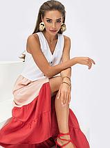 Трехцветное платье без рукавов из льна жатки Украина Размеры: 44,46,48,50,52, фото 3