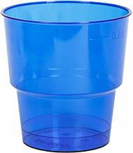 Стакан стеклоподобный (без ножки) 200 гр синий 36Х25 (25 шт) стекловидный одноразовый стеклопластиковый