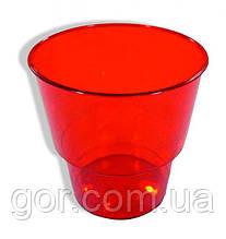 Стакан стеклоподобный (без ножки) 200 гр красный 36Х25 (25 шт) стекловидный одноразовый стеклопластиковый