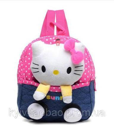 Детский рюкзак с игрушкой розовый, Китти