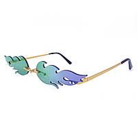 Солнцезащитные очки фигурные огонь голубые