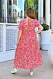 Літнє жіноче батальне сукня вільного крою, з квітковим принтом (р. 52-66), фото 5