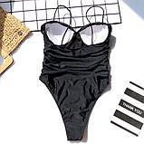 Женский купальник слитный с твердой чашкой пуш ап - леопрад , черный, фото 5
