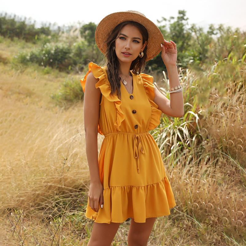 Романтичне жіноче плаття горничного кольору з гудзиками