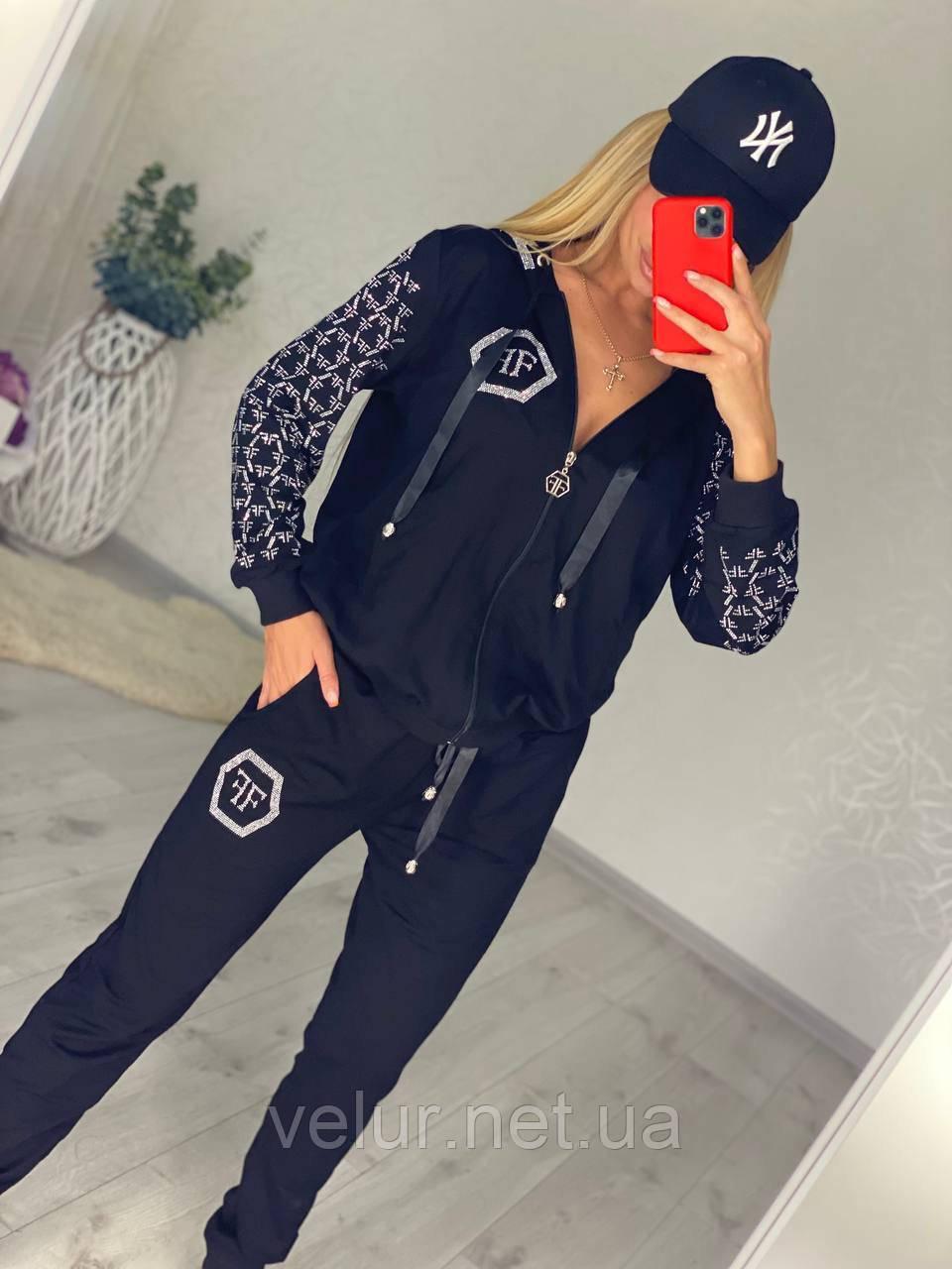 Жіночий чорний трикотажний костюм (Туреччина); Розміри:2хл,3хл,4хл,5хл повномірні