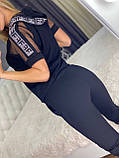 Жіночий літній чорний трикотажний костюм (Туреччина); Розміри:З,М,Л,ХЛ повномірні, фото 2