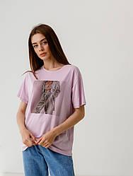 Хлопковая футболка с принтом в 3 цветах в размерах S-M, L-XL.