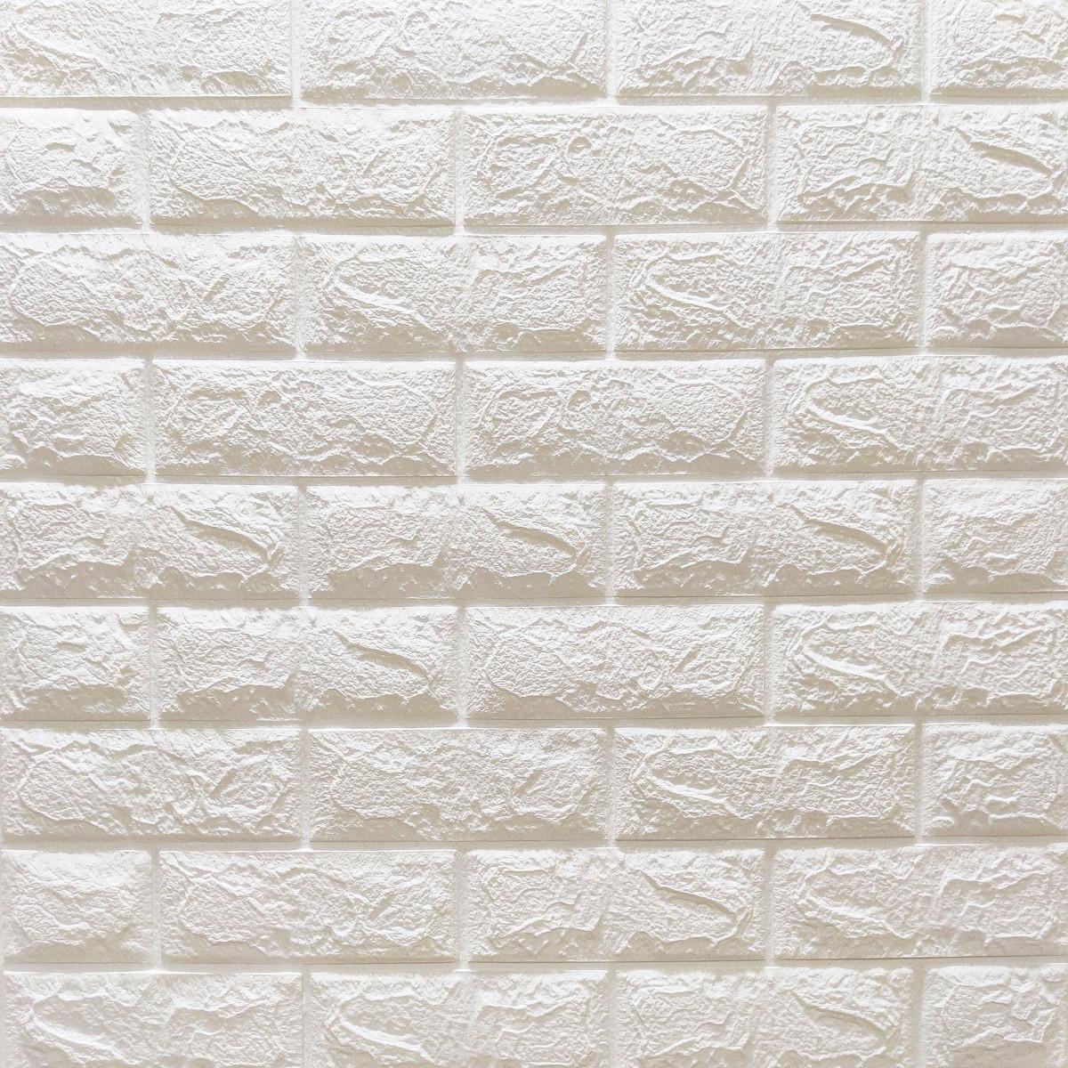 Декоративна 3D панель самоклейка під цеглу Білий Матовий 700х770х7мм