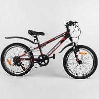 """Велосипед Спортивный CORSO «Pulsar» 20"""" дюймов 36287 (1) рама металлическая 11'', Shinemax 7 скоростей, собран"""