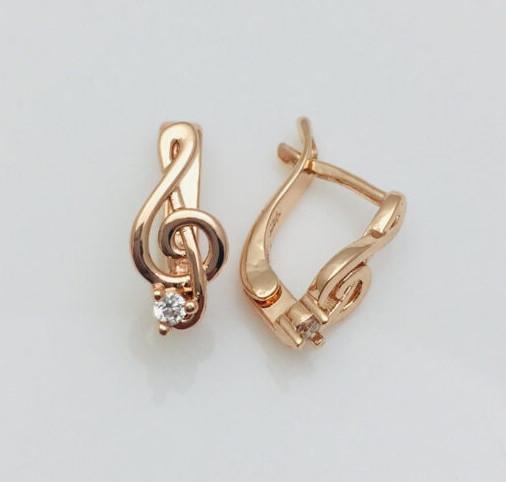 Сережки дитячі позолота, мед золото, 82202752-01 H-13 мм B-6 мм ювелірна біжутерія Fallon Jewelry