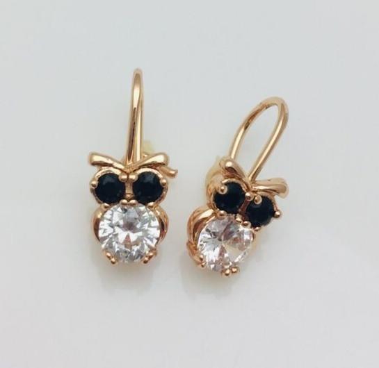 Сережки дитячі позолота, мед золото, 82202746-11 H-15 мм B-7 мм ювелірна біжутерія Fallon Jewelry