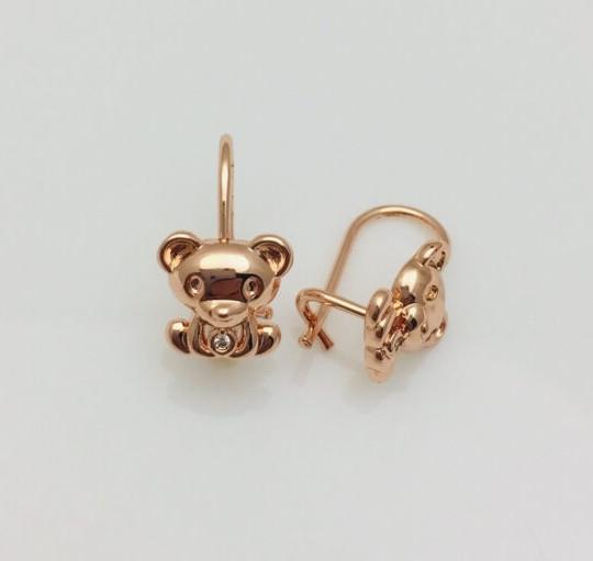 Серьги детские позолота, мед золото, 82202744-01 H-14 мм B-9 мм ювелирная бижутерия Fallon Jewelry