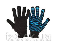 Перчатки трикотажные MASTERTOOL EXTRA с ПВХ-точками 70% хлопок/30% полиэстер 7 класс 3 нити 78 гр черно-синие