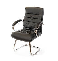 Стілець офісний на полозах Каміль CH CF комп'ютерне крісло сітка, конференційний коричневе навантаження до 120 кг
