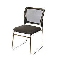 Стілець офісний на полозах Астро CH комп'ютерне крісло тканина, конференційний чорне навантаження до 120 кг