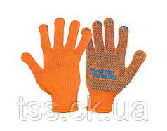 Перчатки трикотажные MASTERTOOL STANDART+ с ПВХ-точками 70% хлопок/30% полиэстер 10 класс 2 нити 55 гр