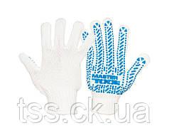 Перчатки трикотажные MASTERTOOL MASTER с ПВХ-рисунком 60% хлопок/40% полиэстер 7 класс 3 нити 90 гр бело-синие