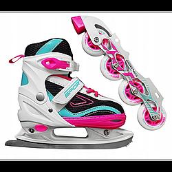 Роликові ковзани SportVida 4 в 1 SV-LG0032 Size 35-38 Pink/Blue