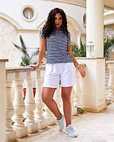 Модный повседневный костюм с белыми шортами и футболкой  в полоску, фото 1