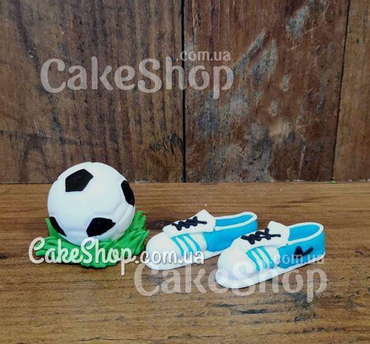 Сахарные фигурки Мяч и бутсы голубые