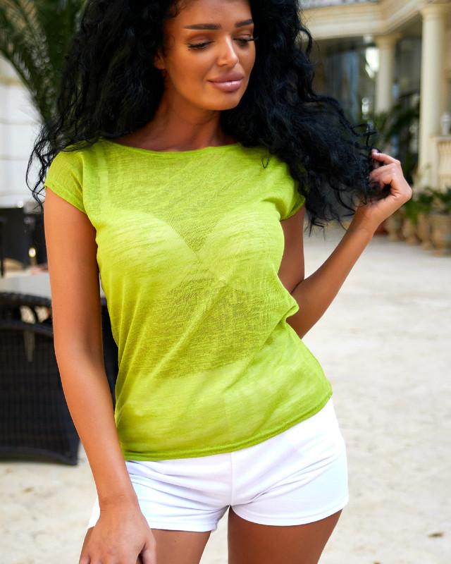 Лёгкая женская полупрозрачная футболка