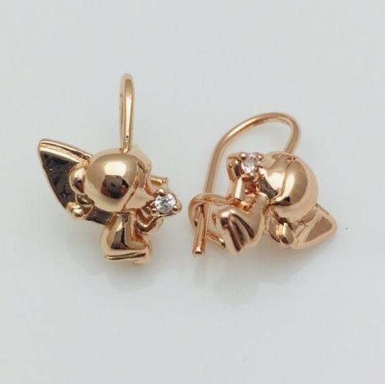 Сережки дитячі позолота, мед золото, 82202740-01 H-15 мм B-11 мм ювелірна біжутерія Fallon Jewelry
