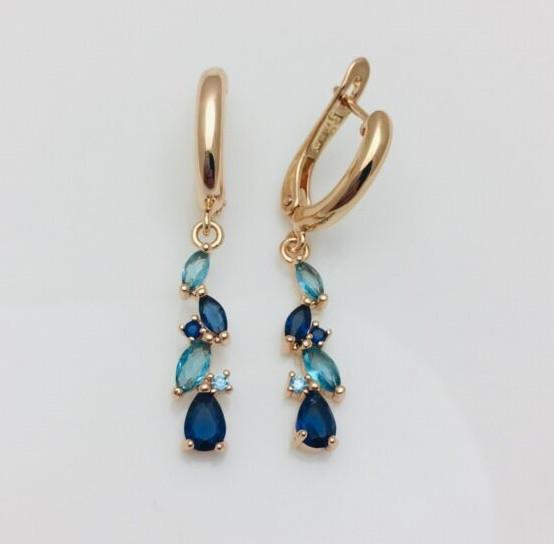Сережки позолота, мед золото, 82202724-11  H-40 мм B-6 мм ювелірна біжутерія Fallon Jewelry