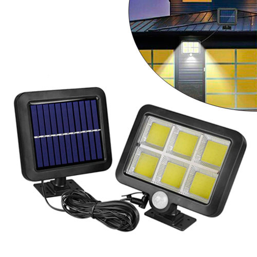 Уличный LED фонарь светильник на солнечной батарее, 120 COB IP65, настенный