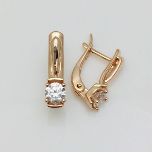 Серьги позолота, мед золото, 82202665-01 H-19 мм B-5 мм ювелирная бижутерия Fallon Jewelry