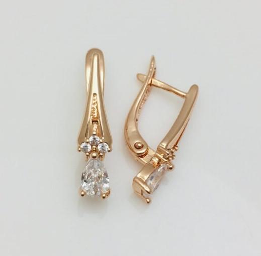 Серьги позолота, мед золото, 82202647-01 H-21 мм B-5 мм ювелирная бижутерия Fallon Jewelry