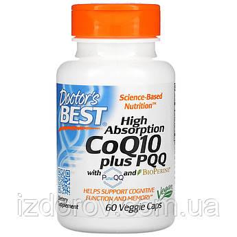 Doctor's s Best, Коензим Q10 100 мг, Пирролохинолинхинон PQQ 20 мг, 60 рослинних капсул