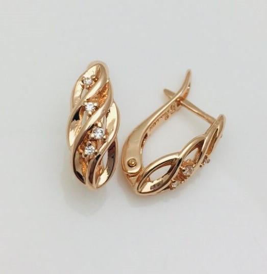 Сережки позолота, мед золото, 82202456-01 H-16 мм B-7 мм ювелірна біжутерія Fallon Jewelry